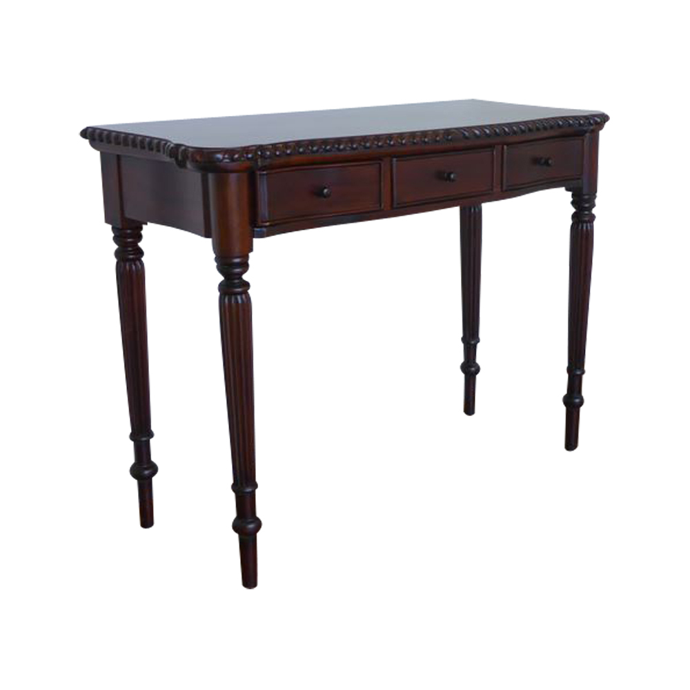 Solid Mahogany Wood Hall Table With 3 Drawers Antique