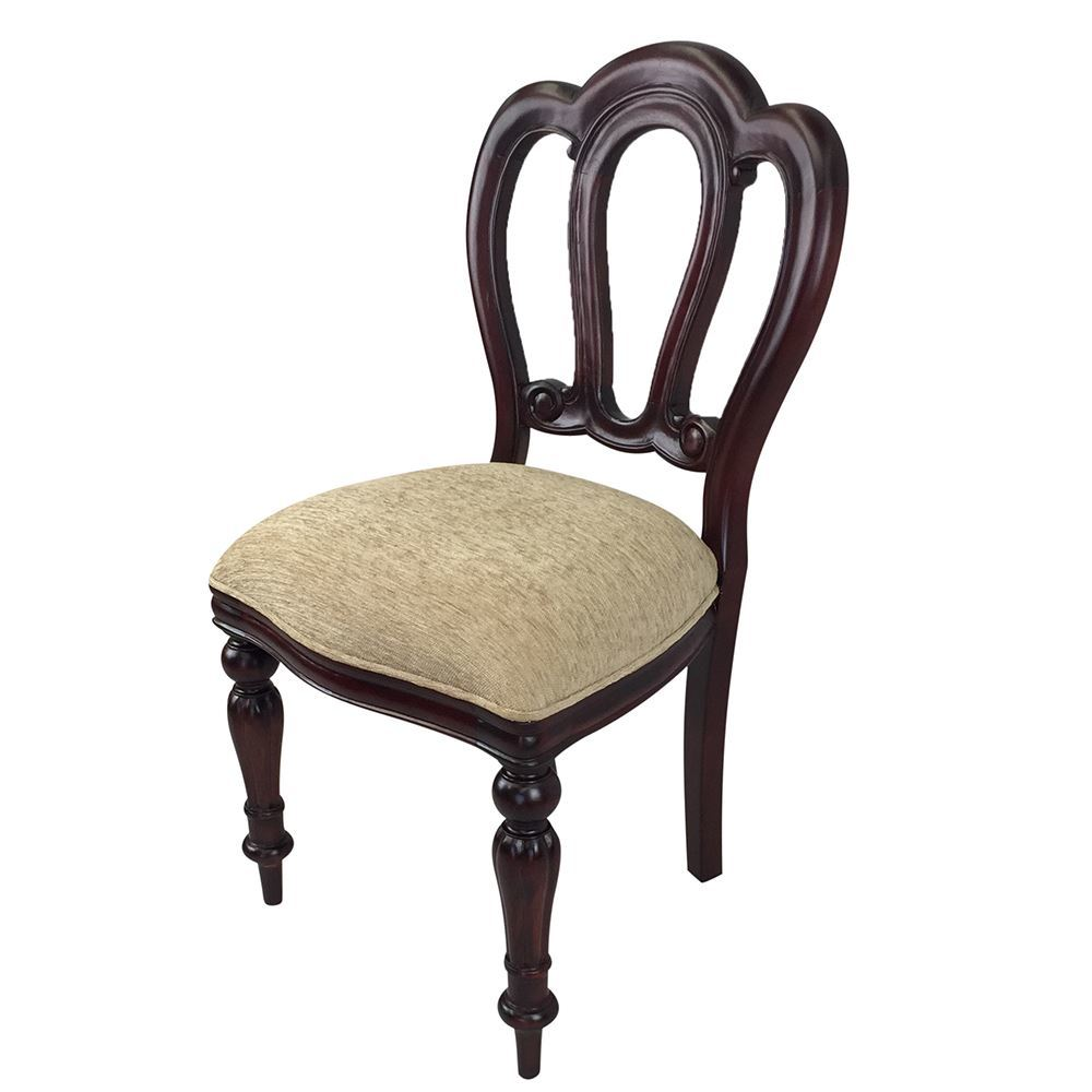 Solid Mahogany Wood Admiralty Upholstered Dining Chair Antique Reproduction Style