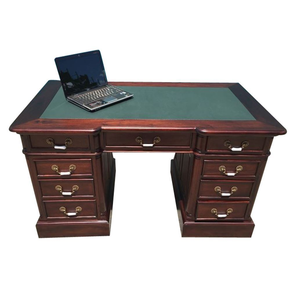 Antique Style Mahogany Wood Office Furniture Desk With 9 ...