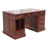 Solid Mahogany Home Office Pedestal Desk  Antique Reproduction Design Pre-Order