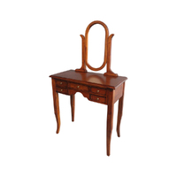 Solid Mahogany Wood Small Dressing Table & Mirror with 5 Drawers