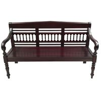 Solid Mahogany Wood 3 Seater Bench / Sofa