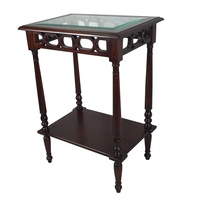 Solid Mahogany Wood Rectangular Glass top Side Table