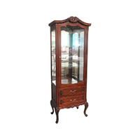 Solid Mahogany 1 Door Queen Anne Display Cabinet