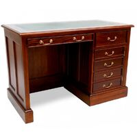 Solid Mahogany Home Office Pedestal Computer Desk