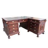 Mahogany Wood Chippendale L Shape Turning Office Desk With Leather Insert