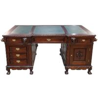 Solid Mahogany Wood Chippendale Lion Office Desk