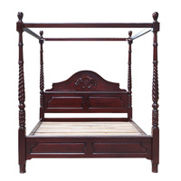 Mahogany Wood Chunky 4 Poster Queen Bed
