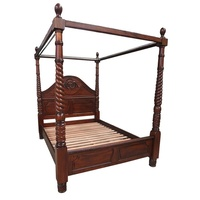 Mahogany Wood King Size 4 Poster Bedroom Set