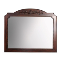 Solid Mahogany Wood Hand Carved Large Beveled Wall Mirror
