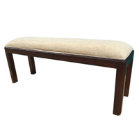 Mahogany Wood Reproduction Style Hand Carved Bed End Stool