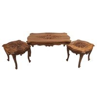 Solid Teak Wood Hand Carved Coffee Table Set Antique Reproduction Louis Style