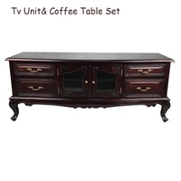 Solid Mahogany Wood Hand Carved Tv and Coffee Table Set