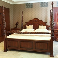 Solid Mahogany Wood Carved Dynasty Four Poster Bed Antique Reproduction