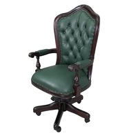 Solid Mahogany Wood Hi-Back Office Chair / Classic Chair
