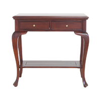 Solid Mahogany Wood Hall Table With 2 Drawers