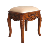 Solid Mahogany Wood Hand Carved Stool