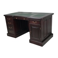 Solid Mahogany Office Desk Vinyl Top New