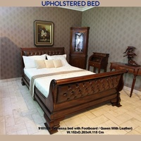 Mahogany Wood Queen Size Upholstered High Foot Sleigh Bed - Venessa Collection