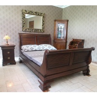 Mahogany Wood Double Size High Foot Sleigh Bed - Venessa Collection