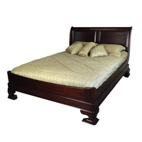 Solid Mahogany Wood Vanessa Queen / King Size Low Foot Sleigh Bed
