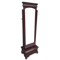 Mahogany Cheval Mirror With Drawer CLEARANCE