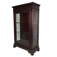 Mahogany Vitrine Display Glass Cabinet with Glass Shelves