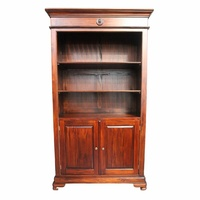 Mahogany Bookcase With Cupboard & Shelves