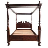 Solid Mahogany Wood Chippendale 4 Poster Bed Queen / King size