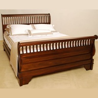 Mahogany Wood Slatted Queen Sleigh Bed