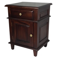 Mahogany Bedside Table with Drawer and Cupboard and Drawer