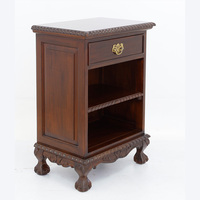 Solid Mahogany Wood Bedside Table With Shelves