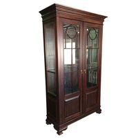 Solid Mahogany Wood Display Glass Cabinet
