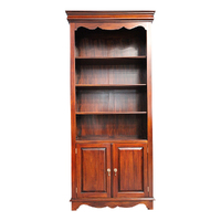 Solid Mahogany Wood Victorian Bookshelf with Cupboard Carved Design