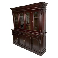 Solid Mahogany 4 Door Display Cabinet / Bookcase