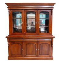 Solid Mahogany 3 Door Display Cabinet /Bookcase