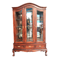 Solid Mahogany 3  Doors Large Chippendale Display Cabinet