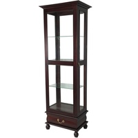Solid Mahogany Glass Reproduction Display Cabinet With Drawer