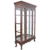 Solid Mahogany Wood Single Door Glass Display Cabinet