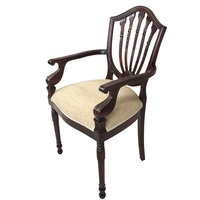 Solid Mahogany Wood Carver Upholstered Chair