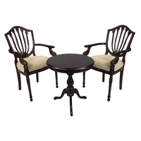 Solid Mahogany Table Set with 2 Hyper Flute Leg Arm Chairs
