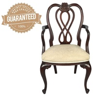 Solid Mahogany Wood Upholstered Queen Ann Style Dining Chair / Carver
