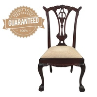 Solid Mahogany Wood Upholstered Chippendale Cabriole Style Dining Chair