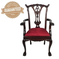 Solid Mahogany Wood Antique Reproduction Chippendale Cabriole Arm Chair Carver