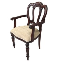 Solid Mahogany Wood Admiralty Upholstered Flute Leg Dining Carver Chair