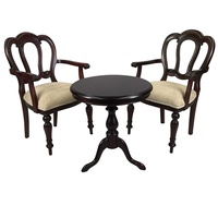 Solid Mahogany Wood Round Table Set with 2 Arm chairs - Hyper Flute Leg Design