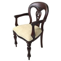 Solid Mahogany Wood Fiddle Back Upholstered Carver Dining Chair