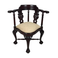 Solid Mahogany Wood Chippendale Style Upholstered Corner Arm Chair