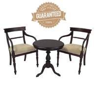 Solid Mahogany Wood Round Table Set with Arm chair and Dining Chair