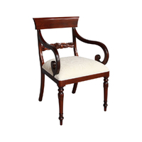 Solid Mahogany Wood Regency Carver Upholstered Chair